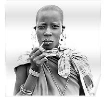 Smoking Masaii woman Poster