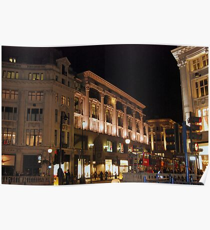 Streets of London - Oxford Street at Night Poster