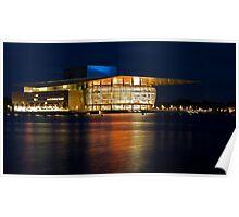 Copenhagen opera house by night Poster