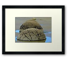 Steamed Puddings by the Sea! - Moeraki Boulders NZ Framed Print