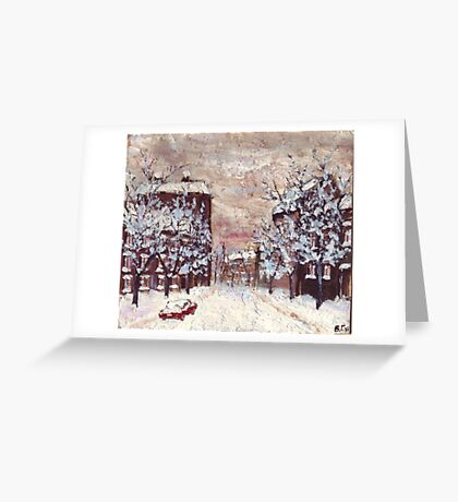City in snow oil painting Greeting Card