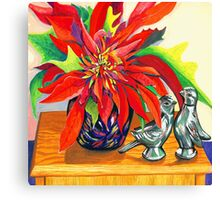 Lovebirds with Poinsettia Canvas Print