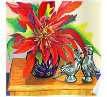 Lovebirds with Poinsettia Poster