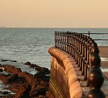 sunset  and wind farm by Rexcharles