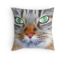Fractual Feline Throw Pillow