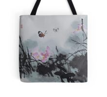 Butterfly and Lotus v2 Tote Bag