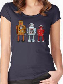 Three Robots. Women's Fitted Scoop T-Shirt