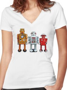 Three Robots. Women's Fitted V-Neck T-Shirt