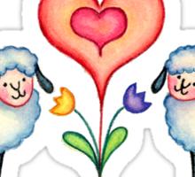 HEARTS & SHEEP by SHARON SHARPE Sticker
