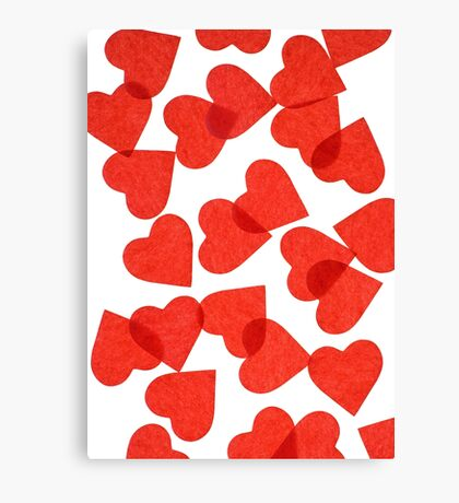 Red Paper Hearts Canvas Print