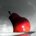 Red Pear in Black and White by Debbie Sickler