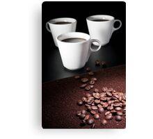 three coffee cups Canvas Print