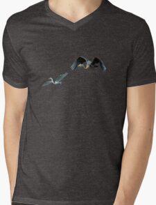 Blue Heron & White Egret Mens V-Neck T-Shirt