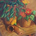 """Terracotta Study with Gerbera Daisies"" by Susan Dehlinger"