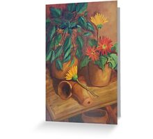 """""""Terracotta Study with Gerbera Daisies"""" Greeting Card"""