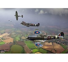 303 Squadron Spitfire sweep (cropped version) Photographic Print