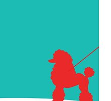 Turquoise and Red Poodle Skirt Poodle Design by ARTiculatePRINT