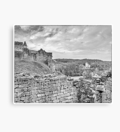 BW France Chateau Commarque Canvas Print