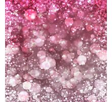 Pink Sparkling Ice Bokeh Print Photographic Print