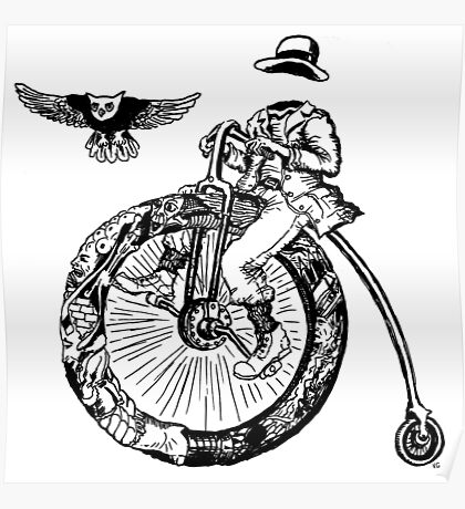 Biker. Surreal black and white pen ink drawing  Poster