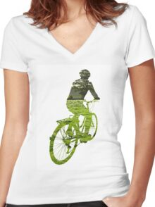 Green Transport 5 Women's Fitted V-Neck T-Shirt