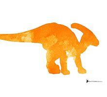 Parazaurolof dinosaur silhouette watercolor art print painting by Joanna Szmerdt