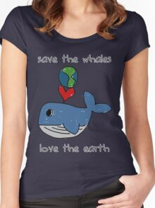 save the whales, love the earth Women's Fitted Scoop T-Shirt