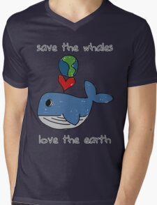 save the whales, love the earth Mens V-Neck T-Shirt