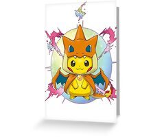 Pikachu Mega Charizard Y Costume Greeting Card