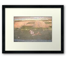 Red wall in water Framed Print