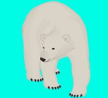 Polar Bear on Bright Turquoise by BeachBumFamily