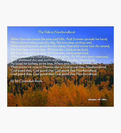 The Ode To Newfoundland Photographic Print