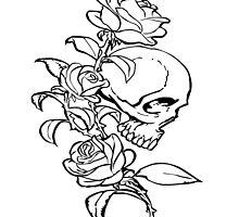 Skull & Roses - Monochrome by GeorgeOC