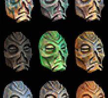 Skyrim Pixel Dragon Priest Masks by Elise V.