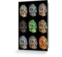 Skyrim Pixel Dragon Priest Masks Greeting Card