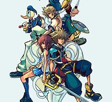 Kingdom Hearts - Sora and All the Others Lovely Portrait by peetamark
