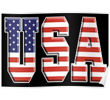 American Flag, USA, Stars & Stripes, America, Americana, Pure & Simple, on BLACK Poster