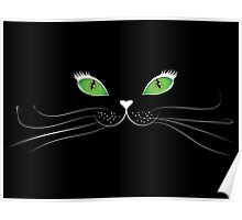Cartoon cat face in black Poster