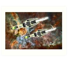 Two Galactic Cruiser/Fighters at NGC 3372  Art Print