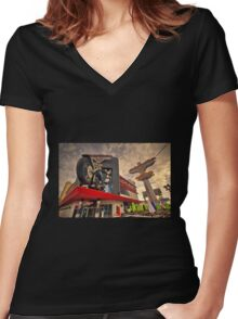 Harley Davidson Cafe  Women's Fitted V-Neck T-Shirt