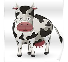 Cartoon black and white cow Poster