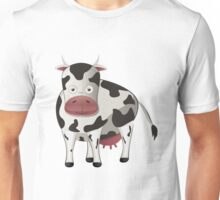 Cartoon black and white cow Unisex T-Shirt