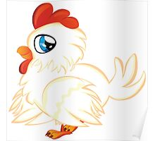 Cartoon white chicken with blue eyes Poster
