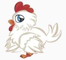 Cartoon white chicken with blue eyes Kids Clothes