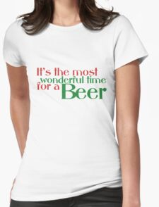 Funny Christmas Beer Parody Womens Fitted T-Shirt
