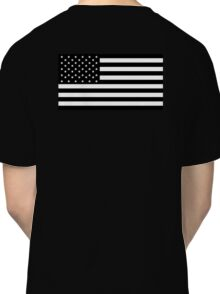 American Flag, STARS & STRIPES, USA, America, Americana, Funeral, Mourning, in Mourning, Black on Black Classic T-Shirt