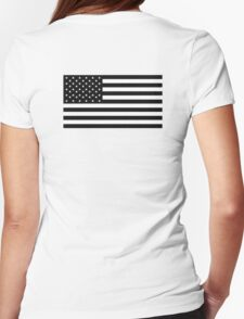 American Flag, STARS & STRIPES, USA, America, Americana, Funeral, Mourning, in Mourning, Black on Black Womens Fitted T-Shirt