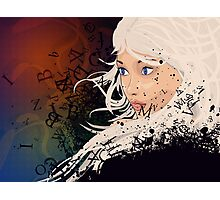 Girl with white hair and text explosion effect Photographic Print