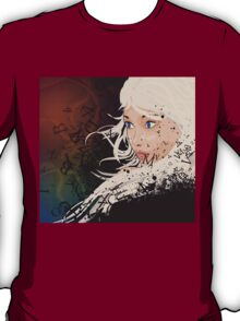 Girl with white hair and text explosion effect T-Shirt