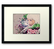Girl with white hair and text explosion effect Framed Print